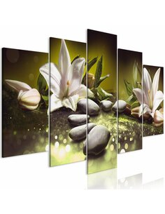 Tableau LILIES AND STONES WIDE GREEN
