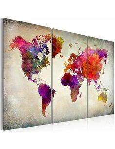Tableau MONDE mosaique de couleurs