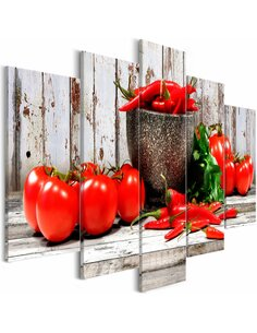 Tableau RED VEGETABLES WOOD WIDE