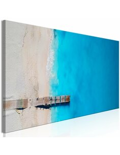 Tableau SEA AND WOODEN BRIDGE NARROW BLUE