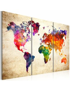 Tableau THE WORLD'S MAP IN WATERCOLOR