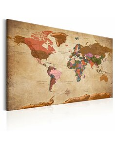 Tableau WORLD MAP BROWN ELEGANCE