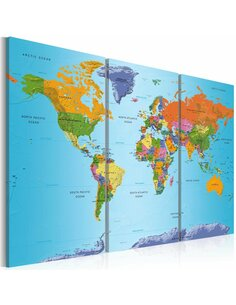 Tableau WORLD MAP COLOURFUL NOTE