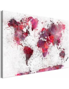 Tableau WORLD MAP RED WATERCOLORS WIDE