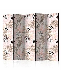 Paravent 5 volets PINK PALM LEAVES