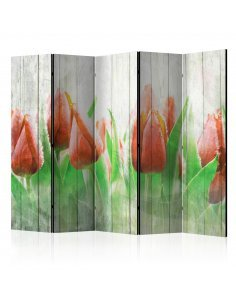 Paravent 5 volets RED TULIPS ON WOOD