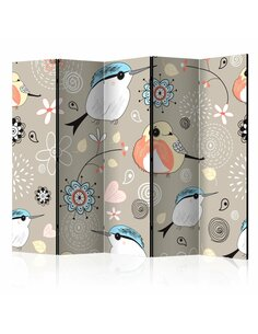Paravent 5 volets NATURAL PATTERN WITH BIRDS