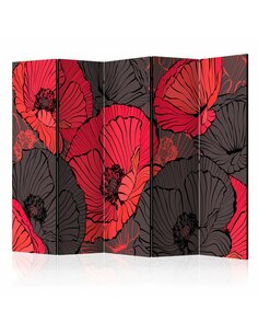 Paravent 5 volets PLEATED POPPIES