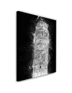 Tableau Leaning Tower of Pisa at night imprimé sur toile