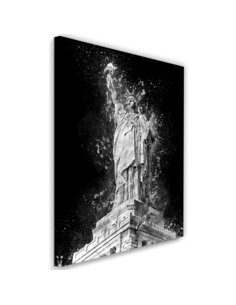 Tableau Statue of Liberty at night imprimé sur toile