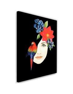 Tableau Picture Canvas XXL Woman face with flowers Decor Black imprimé sur toile