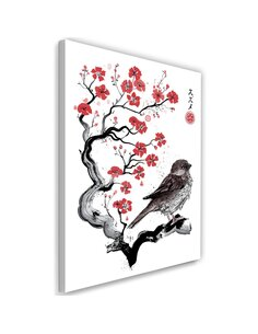 Tableau XXL Little sparrow Image Decor Red imprimé sur toile