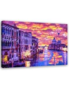 Tableau Print Venice Grand Canal Canvas Wall art Decor Purple imprimé sur toile