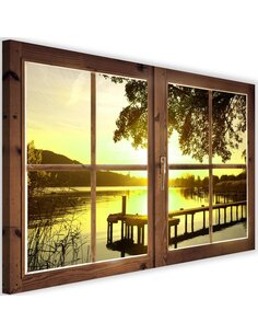 Tableau window, sunset over the bridge imprimé sur toile