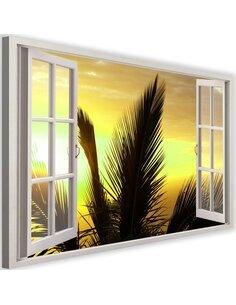 Tableau window, palm trees imprimé sur toile