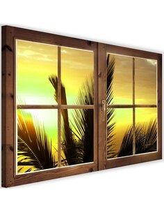 Tableau window, view of palm trees imprimé sur toile