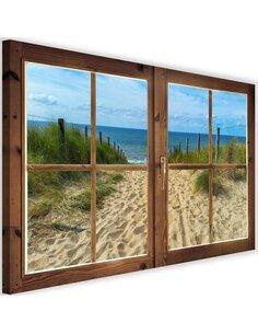 Tableau window, view of the beach imprimé sur toile