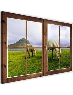 Tableau window, a view of the horses imprimé sur toile