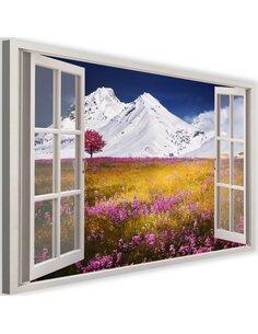 Tableau window, snow-capped mountains imprimé sur toile