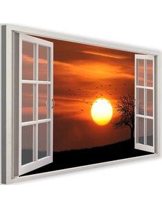 Tableau window, sunset 2 imprimé sur toile