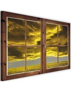 Tableau window, tree and clouds imprimé sur toile