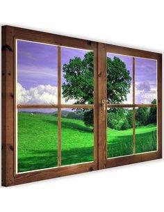 Tableau window, tree against the sky imprimé sur toile