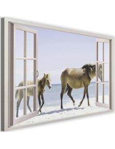 Tableau window, horses on the beach imprimé sur toile