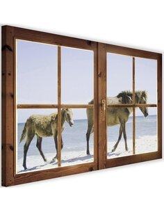 Tableau window, beach and horses imprimé sur toile