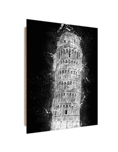 Tableau the Leaning Tower of Pisa at night imprimé sur bois