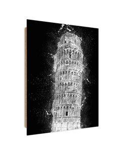Tableau the Leaning Tower of Pisa at night imprimé sur bois