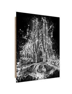 Tableau the Sagrada Familia in Barcelona imprimé sur bois