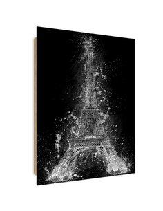 Tableau Eiffel Tower at night imprimé sur bois
