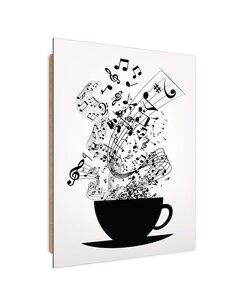 Tableau Music Coffee imprimé sur bois