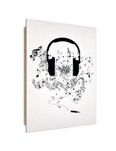 Tableau Music headphones imprimé sur bois