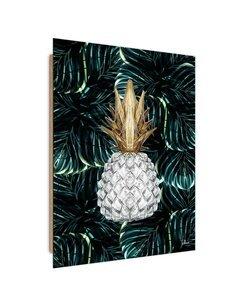 Tableau white pineapple imprimé sur bois