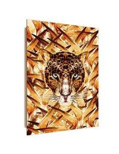 Tableau Crouching Jaguar imprimé sur bois