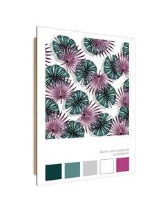 Tableau violet exotic green leaves imprimé sur bois