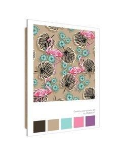 Tableau Four Flamingos imprimé sur bois