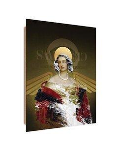 Tableau lady with wings imprimé sur bois