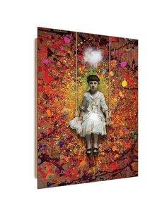 Tableau girl on a swing imprimé sur bois