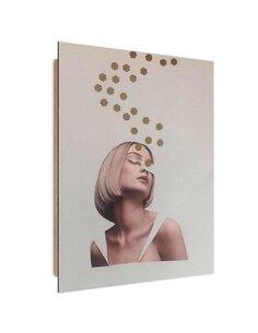 Tableau collage fleeing thoughts imprimé sur bois