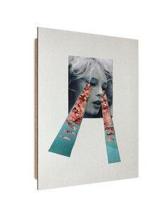 Tableau collage of a woman weeping imprimé sur bois