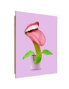 Tableau with mouth Nepenthes imprimé sur bois