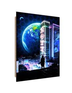 Tableau Space City imprimé sur bois