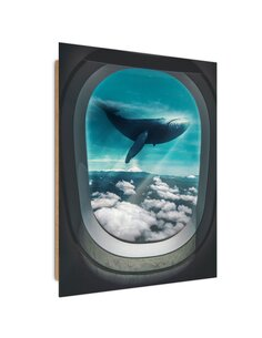 Tableau Flying Whale imprimé sur bois