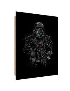 Tableau black soldier in armor imprimé sur bois