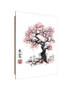 Tableau Manga forest spirits imprimé sur bois