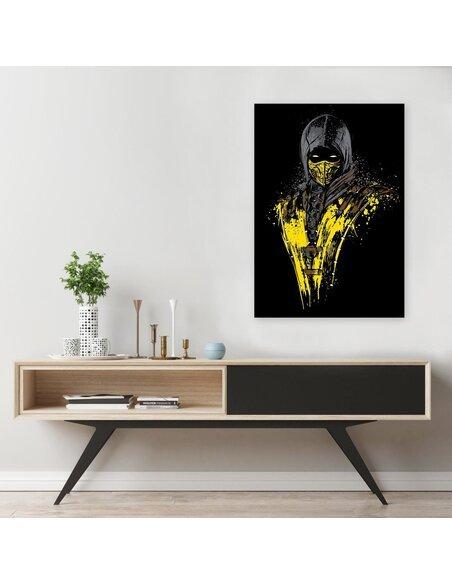 Tableau yellow ninja warrior imprimé sur bois