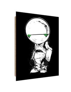 Tableau White Droid imprimé sur bois