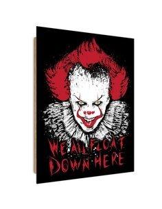 Tableau scary clown, Pennywise imprimé sur bois
